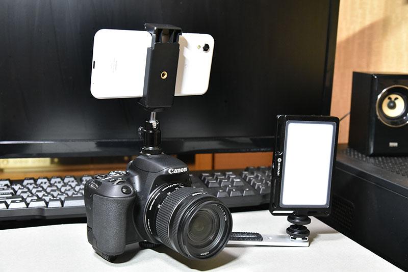 ビデオライト MOMAN 96LEDとデジタル一眼レフの接続方法