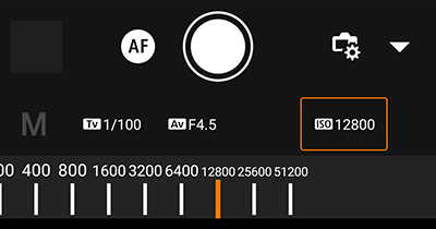 canon camera connect のISO感度設定方法