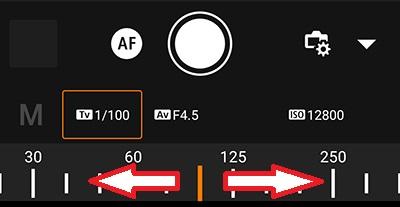 canon camera connect のシャッタースピード設定方法
