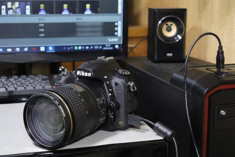 Nikon Transfer2でPCにデータ転送中のD750