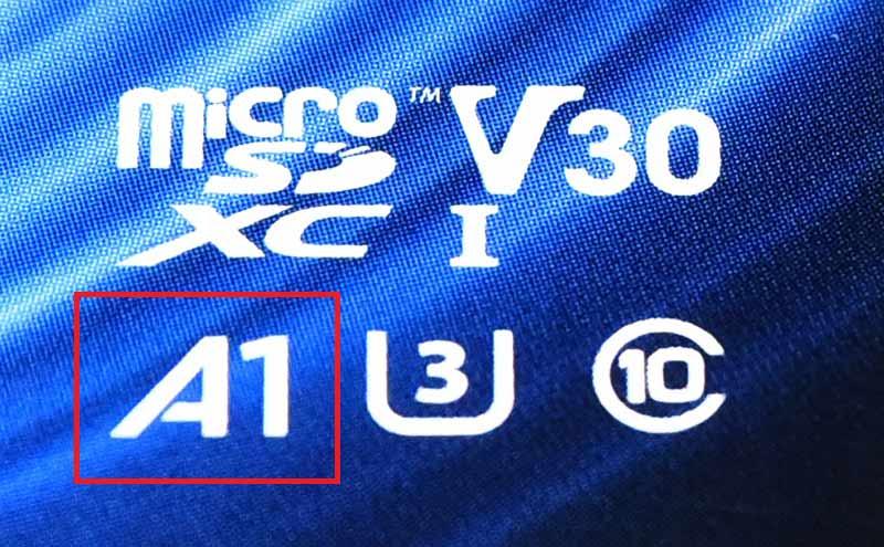 アプリケーションパフォーマンスクラス A1対応のLexarのmicroSDXCカード
