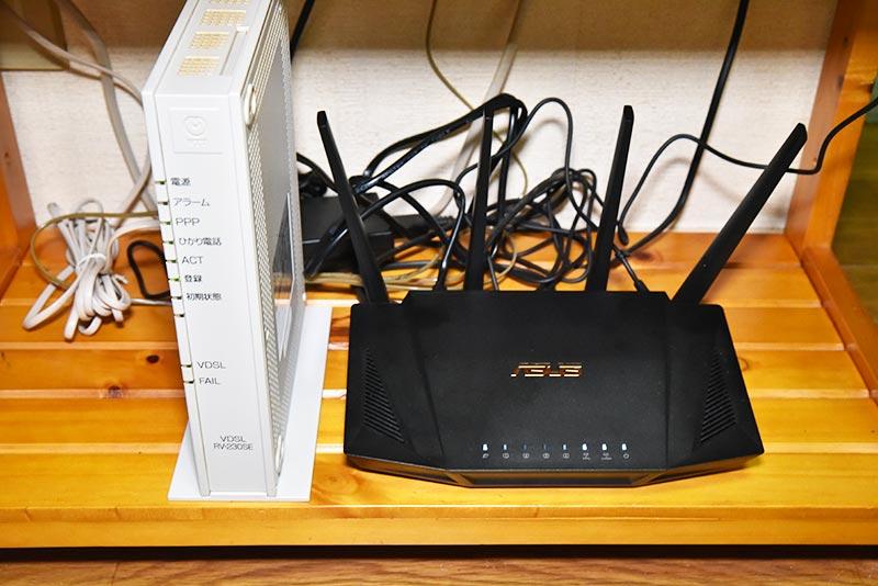 VDSLモデムと接続完了したRT-AX3000