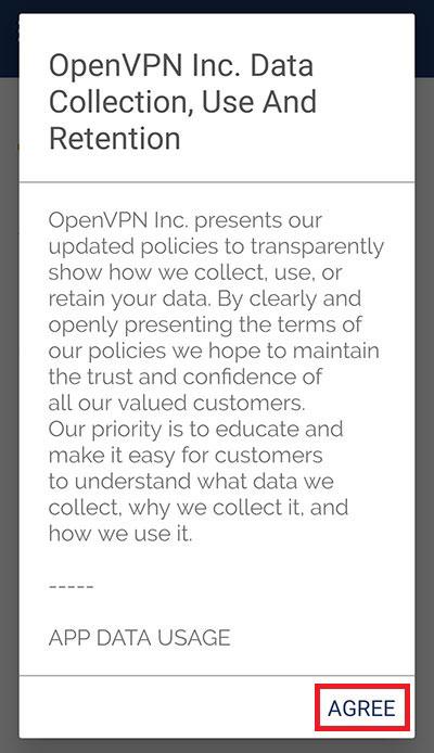 OpenVPNアプリのメッセージ