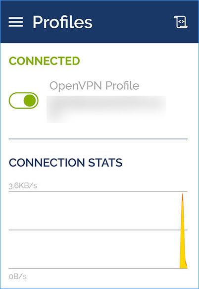 OpenVPNアプリとpcの接続完了