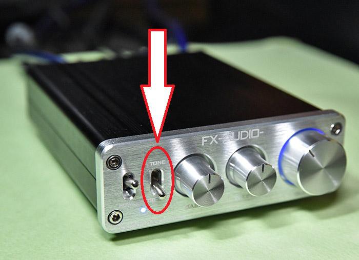 小型アンプ FX-2020A+customのトーンダイレクトスイッチ